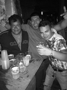 On the left is the owner of Papas&Beer beach club in Rosarito, Mexico. In the middle is Erick and on the right is his friend Noe.